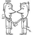 Angel and devil businessmen cartoon vector