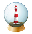 A lighthouse inside the crystal ball vector