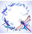 Flying purple watercolor dragonflies vector