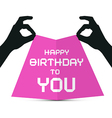 Hands silhouette holding pink paper with happy vector