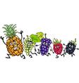 Running fruits cartoon vector