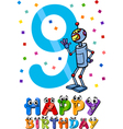 Ninth birthday cartoon design vector