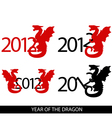 Image of 4 variations with year 2012 and dragon vector