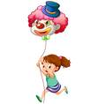 A young girl running with a clown balloon vector