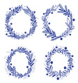 Blue wreath with any plants vector
