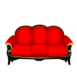 Sofa red with gold carved patterns vector