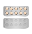Pack of orange pills isolated on white vector