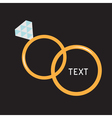 Wedding gold rings diamond card vector