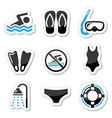 Swimming scuba diving sport icons set vector