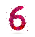 Number six 6 made from red hearts love alphabet vector