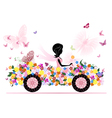 Girl on a romantic flower car vector