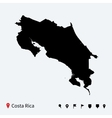 High detailed map of costa rica with navigation vector