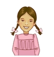 Teenager cartoon girl with two distinct braids vector