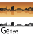 Geneva skyline in orange background vector