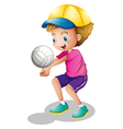 A young man playing volleyball vector