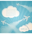 Abstract blue background with planes and clouds vector