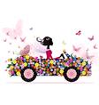 Girl on a romantic flower car vector