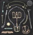 Vintage hand drawn chalk fathers day set vector