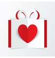 Red paper heart in gift box valentines day card vector