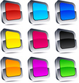 Square 3d buttons vector