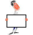 Cartoon man holding sign vector