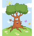 Cartoon tree waving a greeting landscape vector