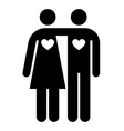 Couple with hearts shape vector