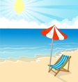 Cartoon beach chair and umbrella on tropical beach vector