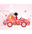 Girl on a red car with floral gifts vector