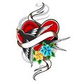 Bird and heart tattoo vector