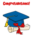 Graduate blue cap with diploma vector
