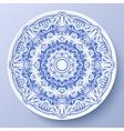 Blue floral ornament decorative plate vector