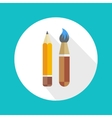 Pen and brush icon vector