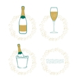The wineglass bottle of wine in ice bucket vector