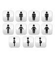 Man and women body type buttons - slim fat obese vector