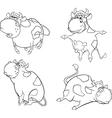 Happy cowsclip art cartoon coloring book vector