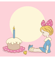 Birthday background with girl and cake vector