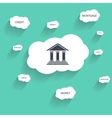 Bank icon and cloud with text vector