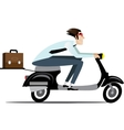Businessman riding on a scooter vector