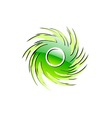 Green glossy ornament on the white vector