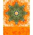 Green stylized flower over bright orange vector
