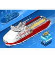 Isometric icebreaker ship isolated in navigation vector