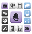Video audio and multimedia buttons set vector