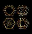 Set of artistic hexagonal logos in gold vector