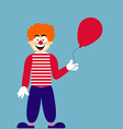 Cute clown with red balloon vector