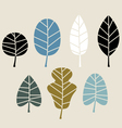 Retro autumn leaves isolated on beige background vector