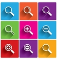 Zoom icons search symbols magnifier glass vector
