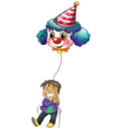A happy boy holding a clown balloon vector