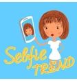 Girl is taking selfie handdrawn on blue background vector