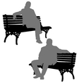 Man and woman sitting on the park bench vector